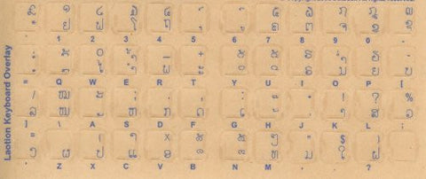 Lao Keyboard Stickers - Labels - Overlays with Blue Characters for White Computer Keyboard
