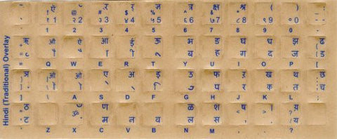 Hindi Transparent Keyboard Stickers with Blue Characters Reverse Printed