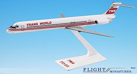 TWA (74-95) MD-80 Airplane Miniature Model Plastic Snap Fit 1:200 Part# AMD-08000H-004