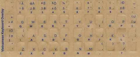 VIETNAMESE Keyboard Stickers - Labels - Overlays with Blue Characters for White Computer Keyboard