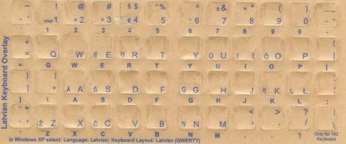 Latvian Keyboard Stickers - Labels - Overlays with Blue Characters for White Computer Keyboard
