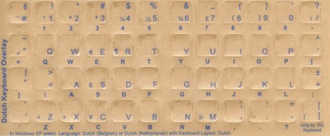 Dutch Keyboard Stickers - Labels - Overlays with Blue Characters for White Computer Keyboard