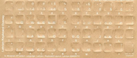 Latvian Keyboard Stickers - Labels - Overlays with White Characters for Black Computer Keyboard