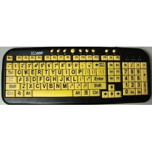 EZSee by DC New and Improved - Large Print English QWERTY Keyboard - Vivid Black Letter on Yellow BackGround Wired USB Connection - For Visually Impaired, Low Light, or Weak Vision