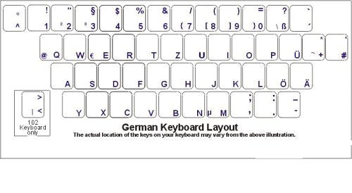 German Keyboard Stickers - Transparent Stickers with Reverse Print with White Letters