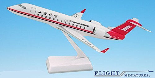 Shanghai Airlines CRJ200 Airplane Miniature Model Plastic Snap-Fit Scale 1:100 Part# ACA-20000C-001