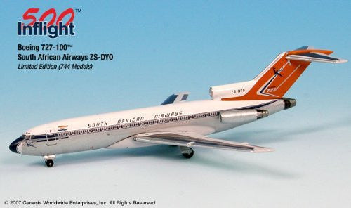 South African Airways 727-100F ZS-DYO Airplane Miniature Model Metal Die-Cast 1:500 Part# A015-IF5721001