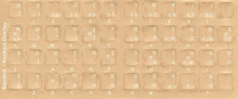 Sanskrit Keyboard Stickers - Labels - Overlays with White Characters for Black Computer Keyboard