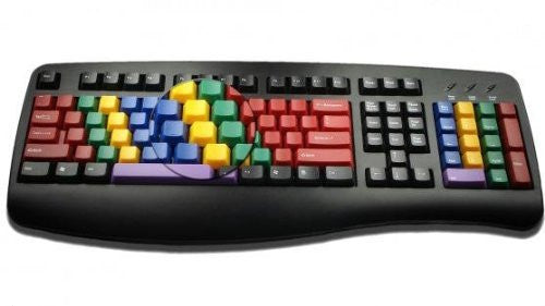 LessonBoard Multi-Colored Keys with Black Framed Standard USB Wired Computer Keyboard - Connector: USB (PS/2 adapter included for older systems)