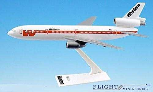 "Western ""White Scheme"" DC-10 Airplane Miniature Model Plastic Snap-Fit 1:250 Part# ADC-01000I-009"
