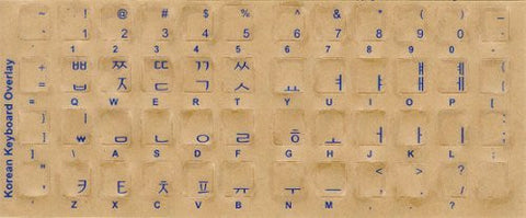 Korean Keyboard Stickers - Transparent with Blue Letters