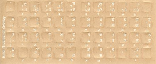 Hindi Keyboard Stickers - Labels - Overlays with White Characters for Black Computer Keyboard
