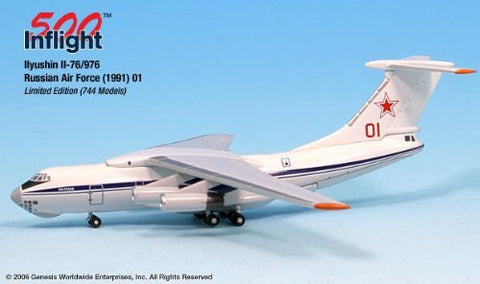 Russian Air Force Red 01 IL-76/976 Airplane Miniature Model Metal Die-Cast 1:500 Part# A015-IF5176004