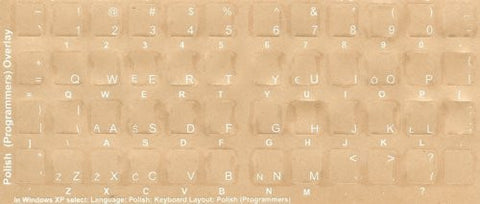 Polish Keyboard Stickers - Labels - Overlays with Blue Characters for White Computer Keyboard