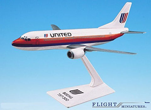 United (76-93) 737-300 Airplane Miniature Model Plastic Snap Fit 1:180 Part# ABO-73730F-003