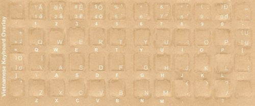 Vietnamese Keyboard Stickers - Labels - Overlays with White Characters for Black Computer Keyboard