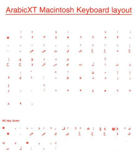 Arabic Overlays Stickers for Macintosh Keyboard, Labels. Red Characters, Transparent for any Language Mac Keyboards.
