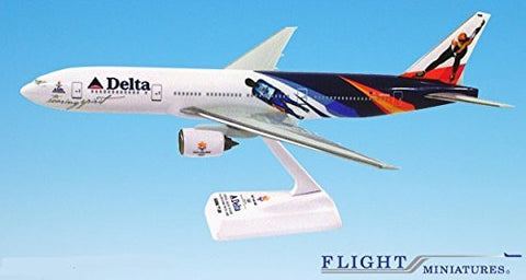 "Delta ""2002 Olympic"" 777-200 Airplane Miniature Model Plastic Snap-Fit 1:200 Part# ABO-77720H-400"