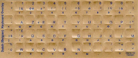 Belgian - Dutch Keyboard Stickers - Labels - Overlays with Blue Characters for White Computer Keyboard
