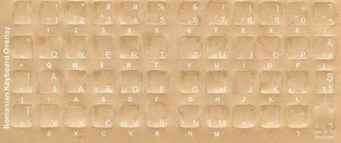 Romanian Keyboard Stickers - Labels - Overlays with Blue Characters for White Computer Keyboard