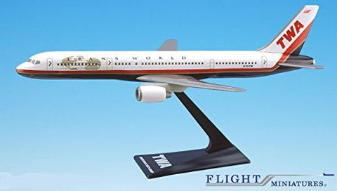 TWA (95-01) 757-200 Airplane Miniature Model Plastic Snap-Fit 1:200 Part# ABO-75720H-029