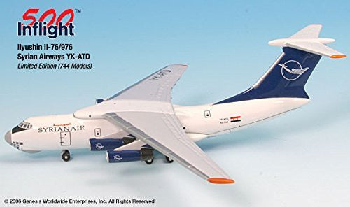 Syrian Airways YK-ATD IL-76 Airplane Miniature Model Metal Die-Cast 1:500 Part# A015-IF5176003