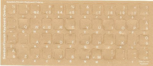 b8b11bcc131 Swedish - Finnish Keyboard Overlays Stickers, Labels. White Characters,  Reverse Print, Transparent