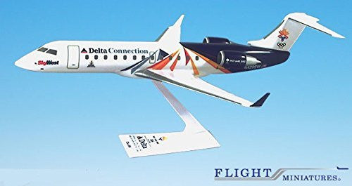 SkyWest Olympic 2002 CRJ200 Airplane Miniature Model Plastic Snap-Fit 1:100 Part# ACA-20000C-300