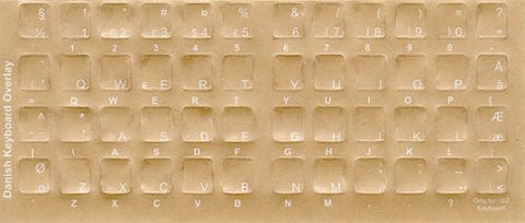 Transparent Danish White Characters for Dark Keyboard, Keyboard Stickers, Overlays, Labels