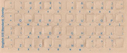 English Keyboard Overlays Stickers, Labels. Blue Transparent Characters for White/Ivory Color Keyboards.