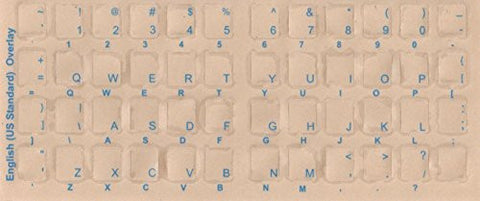 English Keyboard Overlays Stickers, Labels. Blue Transparent Characters for White/Ivory Color Keyboards. Made of Lexan Material and 3m Adhesive on the Reverse Side of Sticker Where the Letter Is Printed Never Come in Contact with Typist Fingers Preventin