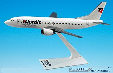 Nordic - Sweden 737-400 Airplane Miniature Model Snap Fit Kit 1:185 Part# ABO-73740G-011