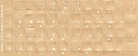 Serbian Keyboard Stickers - Labels - Overlays with White Characters for Black Computer Keyboard