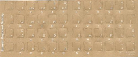 Spanish keyboard stickers -White Transparent