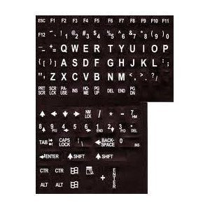 Alphanumeric Replacement Keyboard Labels - white letters on black background