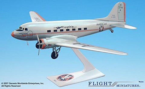 American Flagship Knoxville DC-3 Airplane Miniature Model Plastic Snap Fit 1:100 Part# ADC-00300C-004