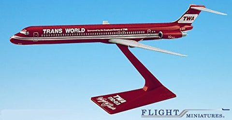 "TWA ""Wings of Pride"" MD-80 Airplane Miniature Model Plastic Snap Fit 1:200 Part# AMD-08000H-005"