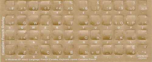 Canadian-French White Characters Keyboard Stickers Labels Overlays - QWERTY