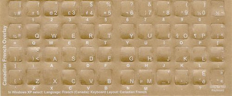 Canadian-French White Characters Keyboard Stickers Labels Overlays - QWERTY -