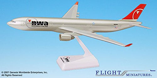 Airbus A330-300 Northwest Airlines 1/200 Scale Model by Flight Miniatures #AAB-33030H-010