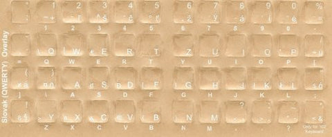 Slovak Keyboard Stickers - Labels - Overlays with White Characters for Black Computer Keyboard