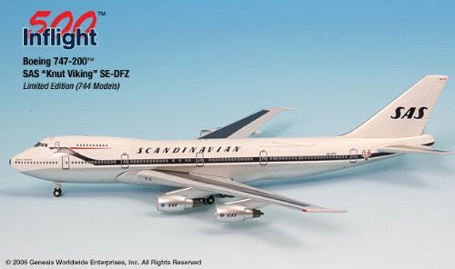 "SAS ""Knut Viking"" SE-DFZ 747-200 Airplane Miniature Model Metal Die-Cast 1:500 Part# A015-IF5742003"