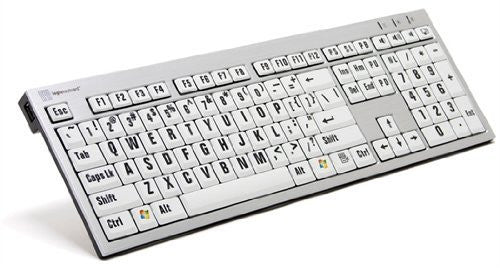 LogicKeyboard Large Print PC USB Wired Keyboard Slim for Visually Impaired - Black Jumbo Letters on White Keys - LK-LKBU-LPRNTBW-AJPU-US