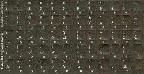 Arabic Keyboard Stickers - Opaque Non Transparent - White Characters on Black Non Transparent Background - Arabic Characters Only, No Other Language Characters with Arabic/Latin & Hindi Numeric Characters