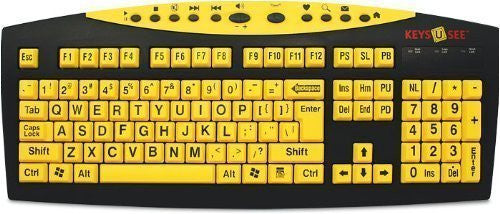 graphic about Printable Computer Keyboard named AbleNet Keys U Watch Weighty Print US English USB Wired Keyboard - Yellow Keys with Major Black (MAG0428)