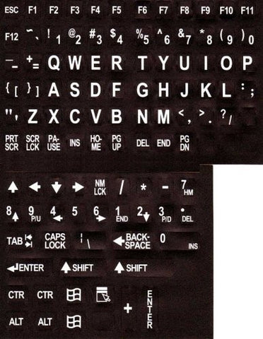 Large Print English Keyboard Stickers (Lexan® Polycarbonate Material, 3M® Adhesive) for the Visually Impaired (Non Transparent - Black with White Print)