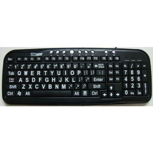 Brand New and Improved EZSee by DC - Large Print Computer Keyboard - White Oversized Letters on Black Background - USB Connection