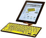 LogicKeyboard Large Print Black on Yellow Bluetooth Mini Keyboard For Apple iPad and iPhone - Tablet not Included - LKBU-LPBY-BTON-US