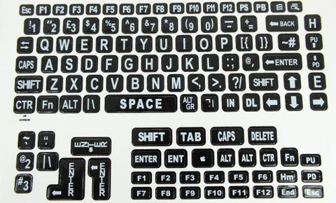 Large Print Keyboard Laptop Labels - White on Black