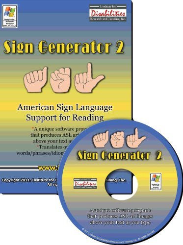 Sign Generator American Sign Language Support for Reading CD ROM